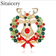 Sitaicery New Hot 1 Pcs Unisex Animal Deer Christmas Xmas Popular Cute Gold Antlers Head Pin Brooches Styling Jewelry