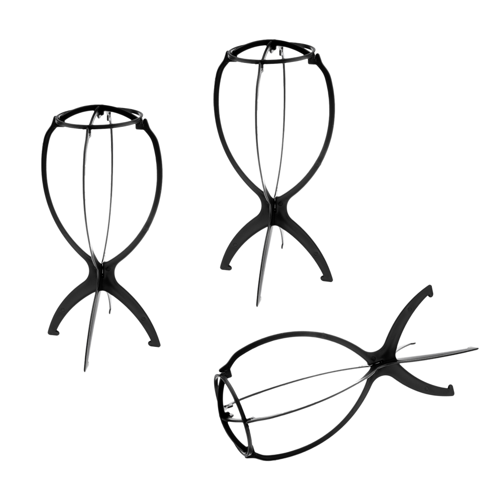 Pack Of 3 Black Collapsible Wig Stand, Portable Wig Stand, Wig Dryer,Wigs Drying Rack
