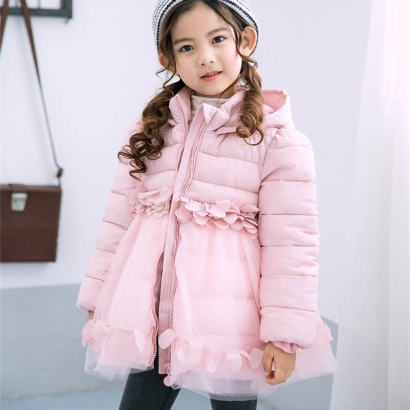 DFXD Children Girls Cotton Padded Coat Fashion Winter Long Sleeve Lace Stitching Zipper Hooded Coat Thick Warm Outwear 2-10Years mcckle women winter coat thick warm parka with big fur collar plus size fashion hooded cotton padded long puffer coat outerwear