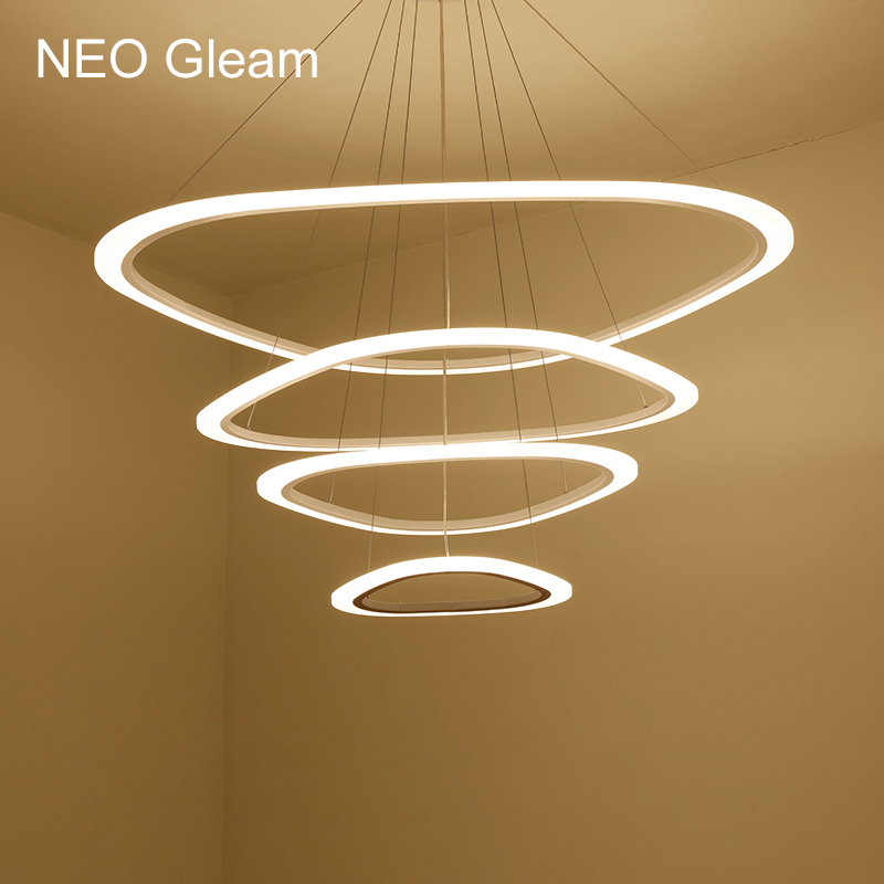 NEO Gleam Modern LED pendant lights for living room dining room 3/2/1 Triangle Rings acrylic aluminum body LED Pendant Lamp modern led pendant lights for living room 3 2 1 circle rings acrylic aluminum body pendant lamp hanglamp lamparas colgantes