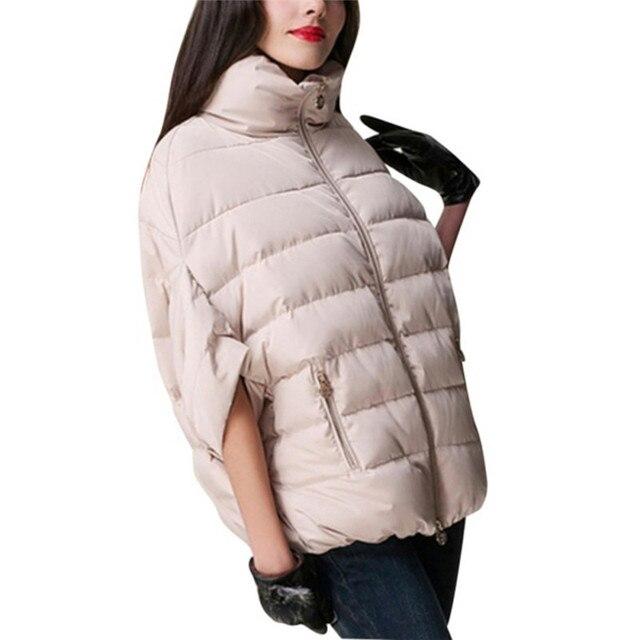 Зима теплая женщины летучая мышь рукав пальто парка хлопок - хлопок-площадку куртка пиджаки S-XL X16