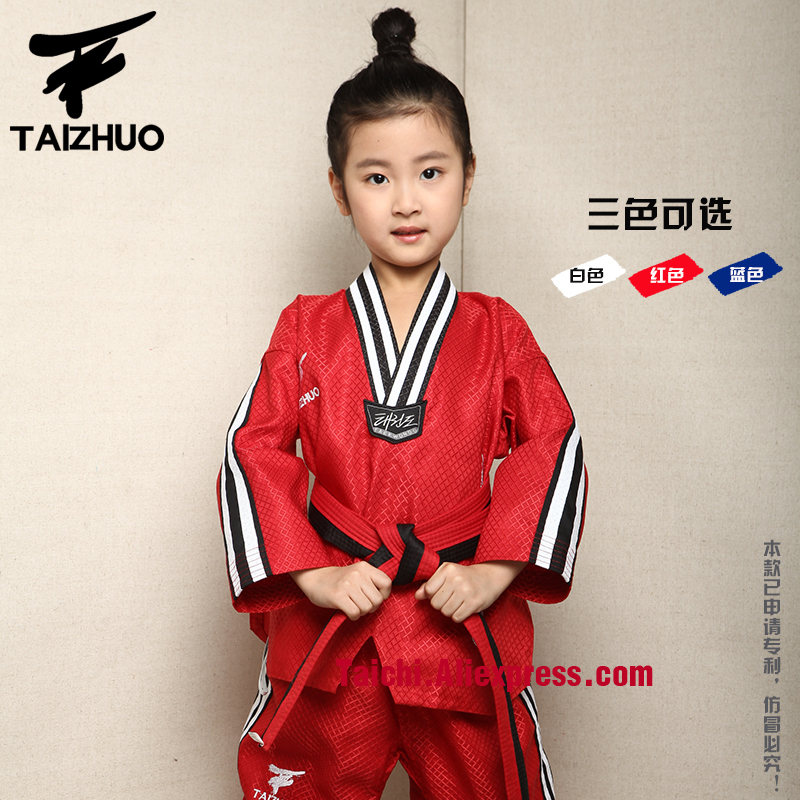 Tae Kwon Do Children Taekwondo Uinform For Poomsae & Training,WTF Uniform,110-155cm White,red,blue