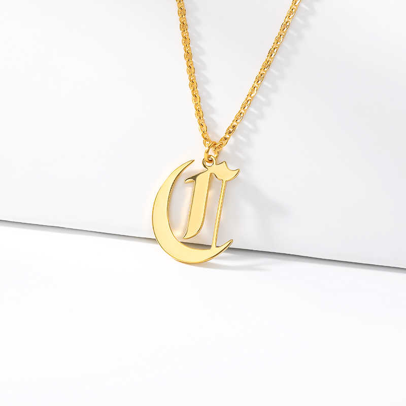 Gothic Initial Necklaces Old English Birth Year Necklace Women Birthday Gift Stainless Steel Chain Personalized Name Jewelry