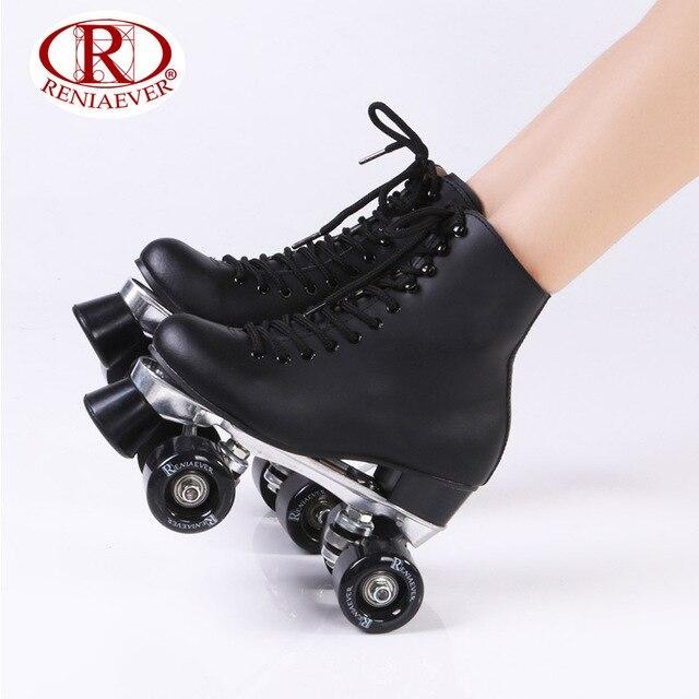 cf043ba5686 RENIAEVER Rolschaatsen Zwart Lederen Dubbele Line Skates Vrouwen Lady Metal  Base 4 Wielen Twee lijn Schaatsen