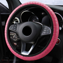 2019 Braid On The Steering Wheel Woven Leather Car Cover For Women Comfortable Cubre Volante Auto