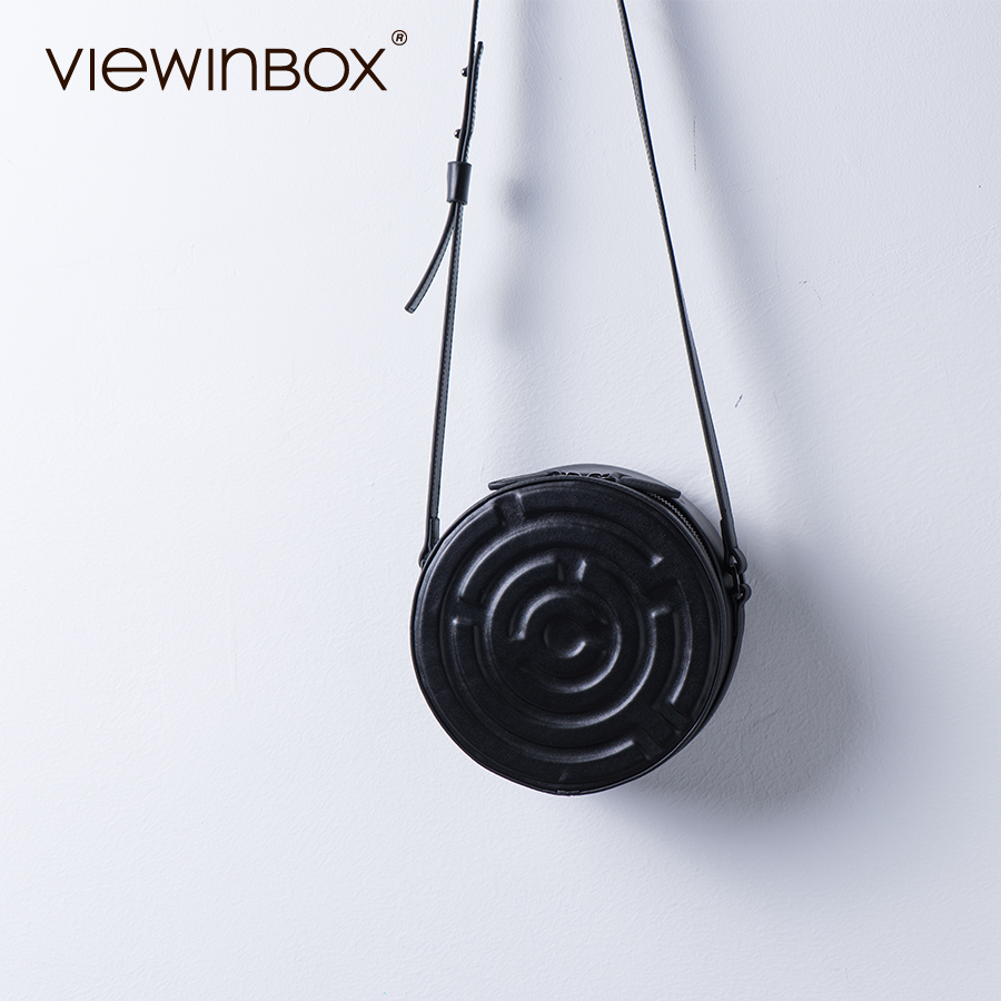 Viewinbox Cow Leather Mini Round Messenger Bag For Girls Casual Black Crossbody