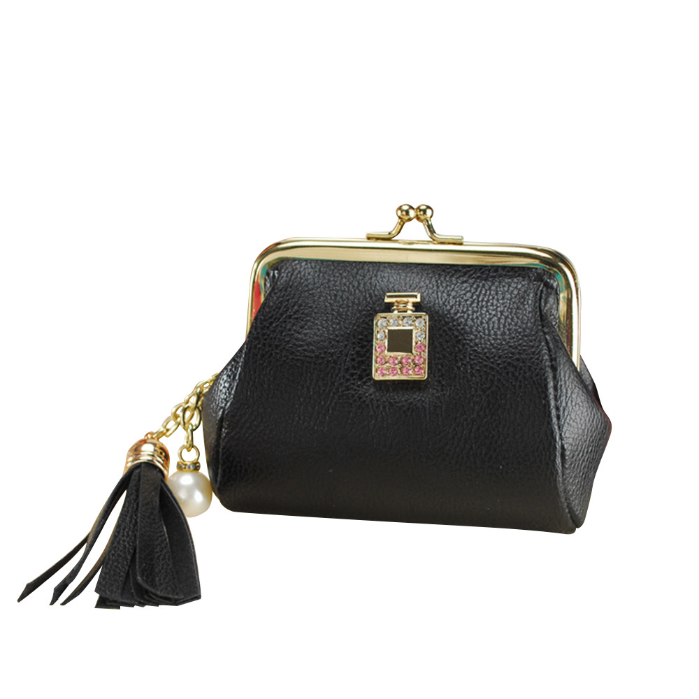 Aelicy Tassel Pendant Design Small Clutch Wallets For Women Coin Purses Card Holders Pocket PU Leather Female Lady Bag carteira