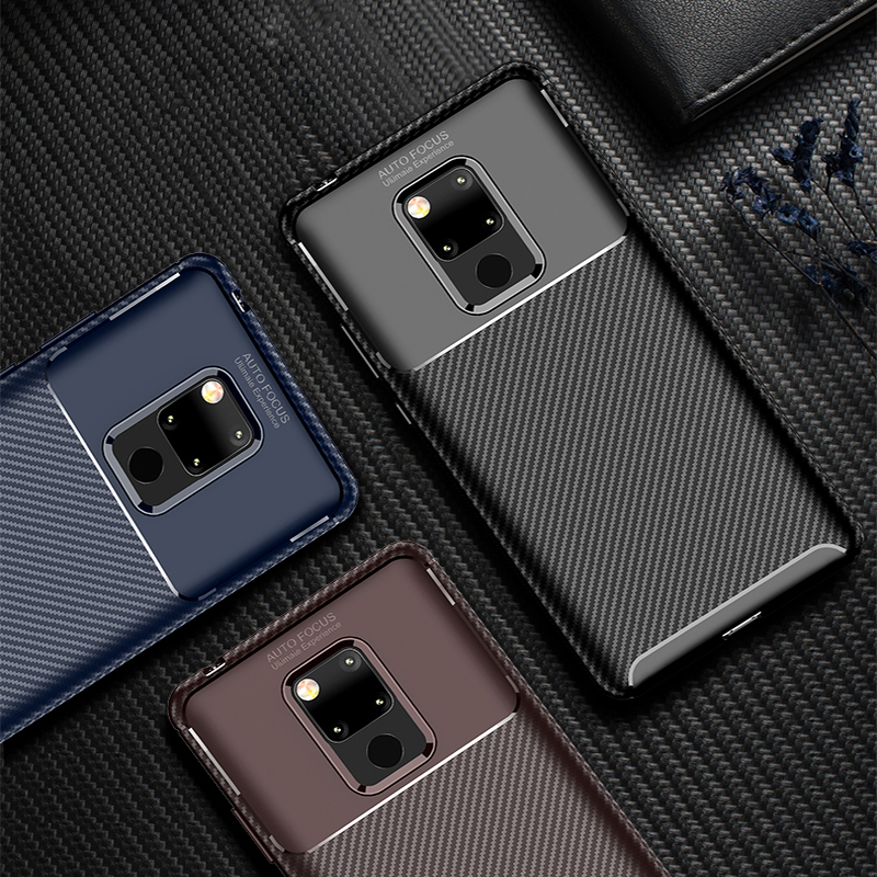 For Huawei P30 Nova 4 Pro Honor 8A Magic 2 Mate 20X Mate 20 Pro Luxury Business Carbon Fiber Silicone TPU Shockproof Cover Case