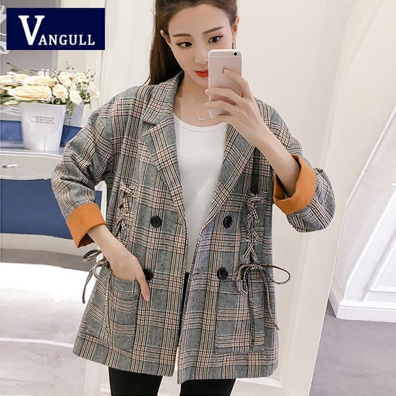 Fashion Casual Women's Clothing 2018 Autumn Double Breasted female Plaid Coat Bandage Wide-waist women loose   Basic     Jacket
