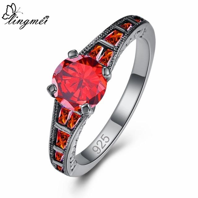 Lingmei Wholesale Wedding Bride Classic Jewelry RoundPurpleRed Zircon Silver Color Black GoldRing Size 6-9 1