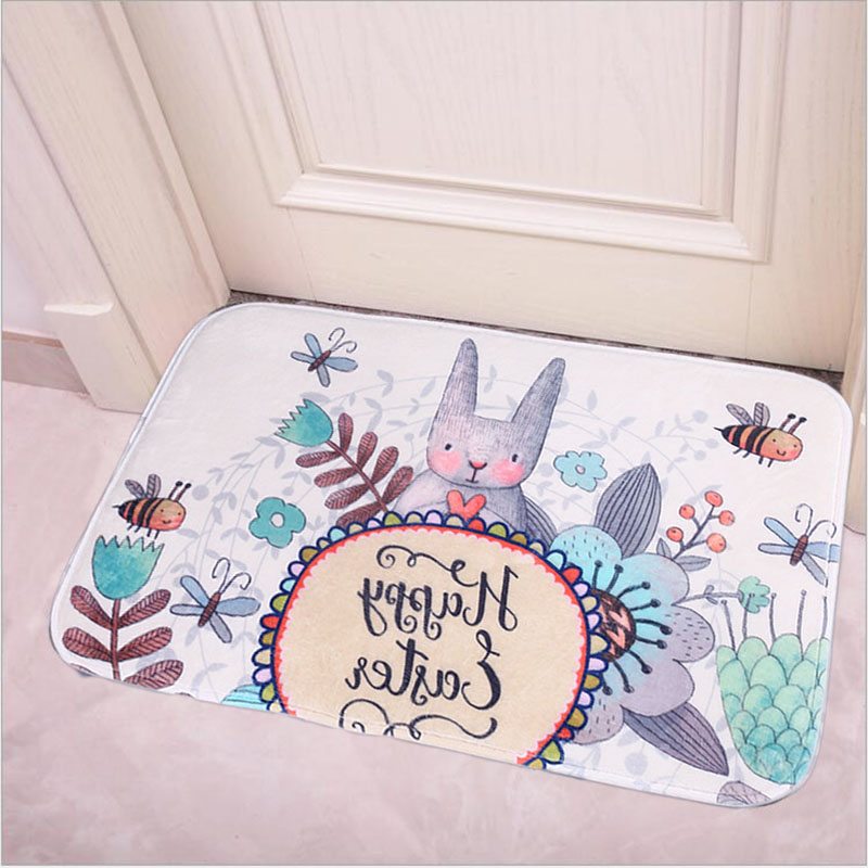 Easter Bunny Rabbit Non Slip Doormat Bath Carpet Floor