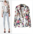 Free Shipping Fashion Spring Women Coat Floral Print Casual Suit Turn-Down Collar Flower Blazer Brand Design Outwear Female