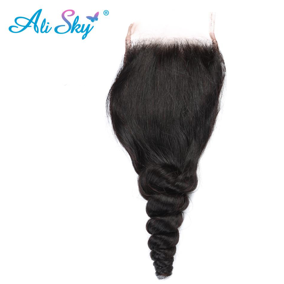 Ali Sky Malaysian Loose Wave 4x4 Free/middle/three Part Lace Closure Pre Plucked With Baby Hair Non Remy 1b 130% Density Black Human Hair Weaves