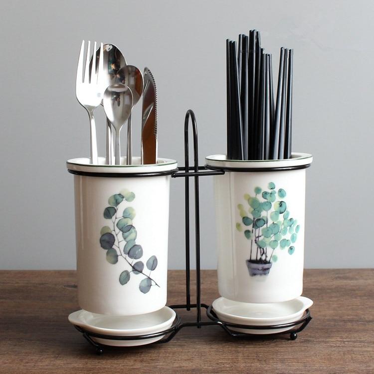 Ceramic Chopsticks Tube Set Kitchenware Storage Drain Rack Desktop Chopsticks Box Chopsticks Cage Kitchen Tools