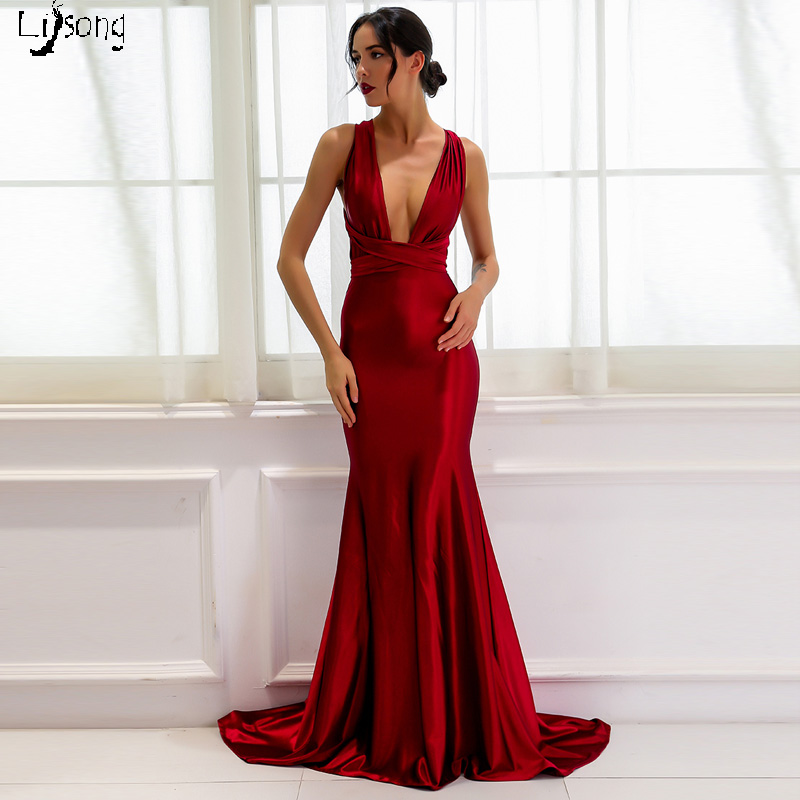 Simple Burgundy Cross Back Mermaid   Prom     Dress   Tied Ribbon Sashes Sheath Sexy Formal Maxi Gowns Vestidos de Noiva Red Carpet Gown