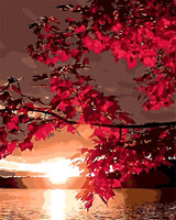 Red Maple Leaves Hill Landscape Oil Painting By Numbers Hand Paint Coloring By Number Canvas Painting