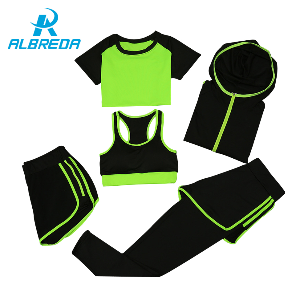 ALBREDA Women Yoga Sport Suit quick Dry Bra Set 5 Piece Female Short sleeved shorts long