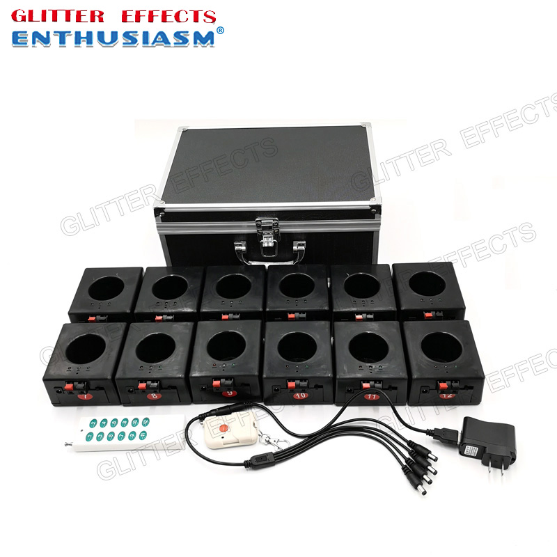 BD12 12 channels rechargable receiver double remote control fountain base fire machine for wedding