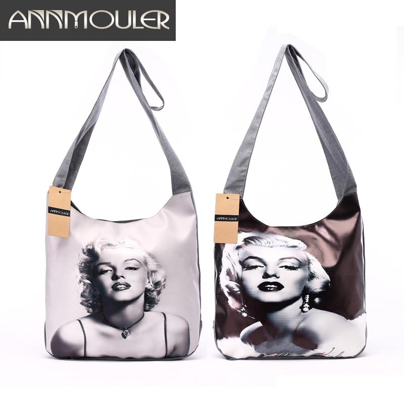 브랜드 새 Bolsa 여성용 여성용 패션 숄더 백 클래식 패치 워크 크로스 바디 메신저 백 3D Marilyn Monroe Print Hobo Bag