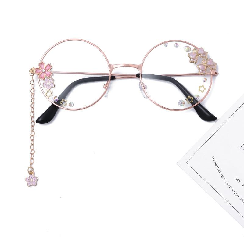 Cute Bowknot Sakura Pendant Clear Optical Glasses Frame Women Round Girls Retro Gothic Handmade Eyewear Glass Oculos De Gafas