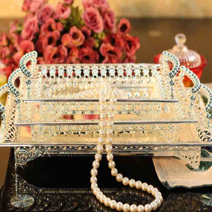 Kingart hotel large metal plate silver rectangle serving cake tray kingart hotel large metal plate silver rectangle serving cake tray party and wedding decoration wedding silver trays junglespirit Images