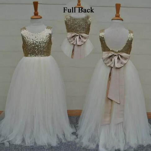 Real Sample High Quality   Flower     Girls     Dresses   Sparkly Gold Sequins Kids Long Formal Wedding Party Gowns Sleeveless Open Back Bow