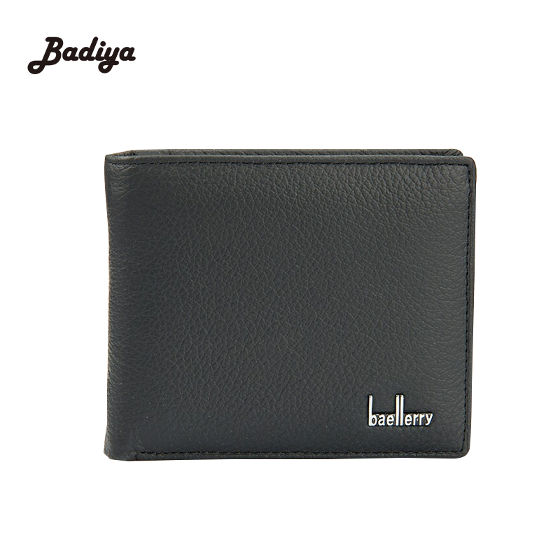 Famous Brand Purse With Card Holder Free Shipping Short Style Solid Black Color Genuine Leather Men Wallet For Man