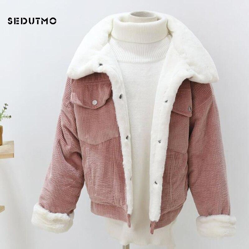 SEDUTMO Winter Velvet   Parka   Women Corduroy Coat Oversize Warm Short Jacket Female Streetwear Outwear Thick Casual Clothes ED539