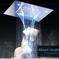 Современные душевые потолок дождь верхний душ свет авто изменение 360*500 мм водопад Насадки для душа ванны душ