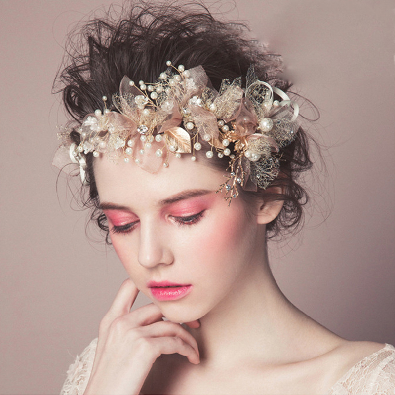 Wedding Hairstyle With Headband: Pink Flower Bridal Headbands Gorgeous Leaf Headband Pearl
