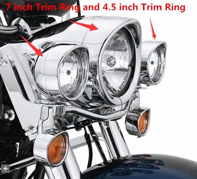 """Nouveau Style de visière d'anneau de garniture de phare de 7 """"de Chrome de moto s'adapte pour Harley Touring Road King Electra Glide Softail FLD/FLH"""