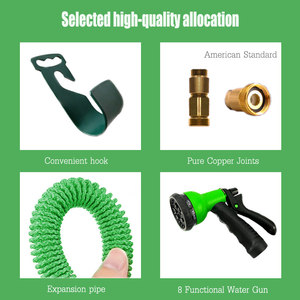 Image 3 - 50ft 1 set of new high quality garden hose automatic telescopic magic hose gardening tools and equipment 8 function water gun