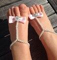 Verano Estilo Elegante Lazo de Satén Brillante Decorado de Perlas Bebé Descalzo Zapatos de Bebé Primer Caminante Del Bebé Regalos de la Ducha XMZX003