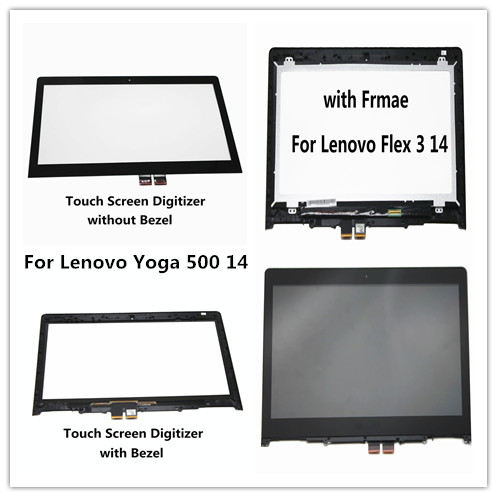 14 Touch Screen Glass LCD Digitizer Assembly with Bezel For Lenovo Flex 3 14 Flex 3 1470 Flex 3 1480 Flex 3 1435 Yoga 500 14 lcd screen assembly for apple iphone 4 4g lcd display touch screen digitizer pantalla with frame bezel replacement black white