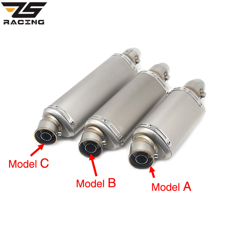 ZS Racing 310mm 370mm 440mm Three Size Motorcycle Exhaust Modified Pipe Slip-on Motorbike Exhaust Pipes For Dirt Bike Scooter motorcycle exhaust pipe modified exfoliate gatling gun style can rotate motorbike scooter exhaust end pipe mufflers