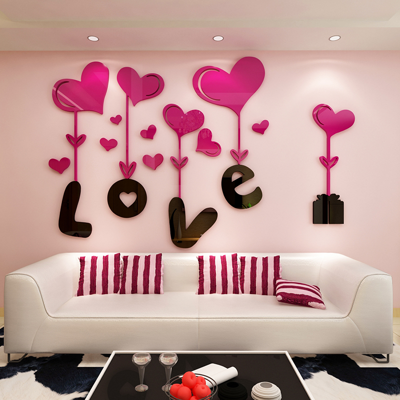 Love 3D Stereoscopic Crystal Acrylic Wall stickers Living room ...