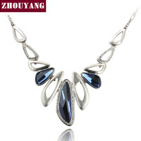 Top Quality Luxury Blue Crystal Silver Color Pendant Necklace Party Jewelry Austrian Crystal Wholesale ZYN571 ZYN572