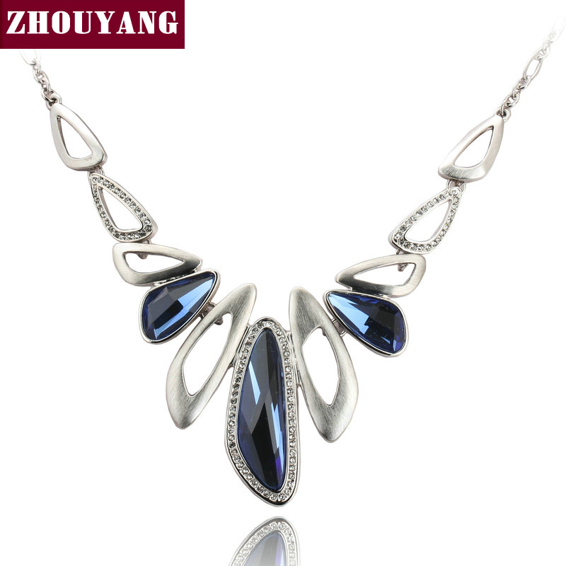 Top Quality Luxury Blue Crystal Silver Color Pendant Necklacs