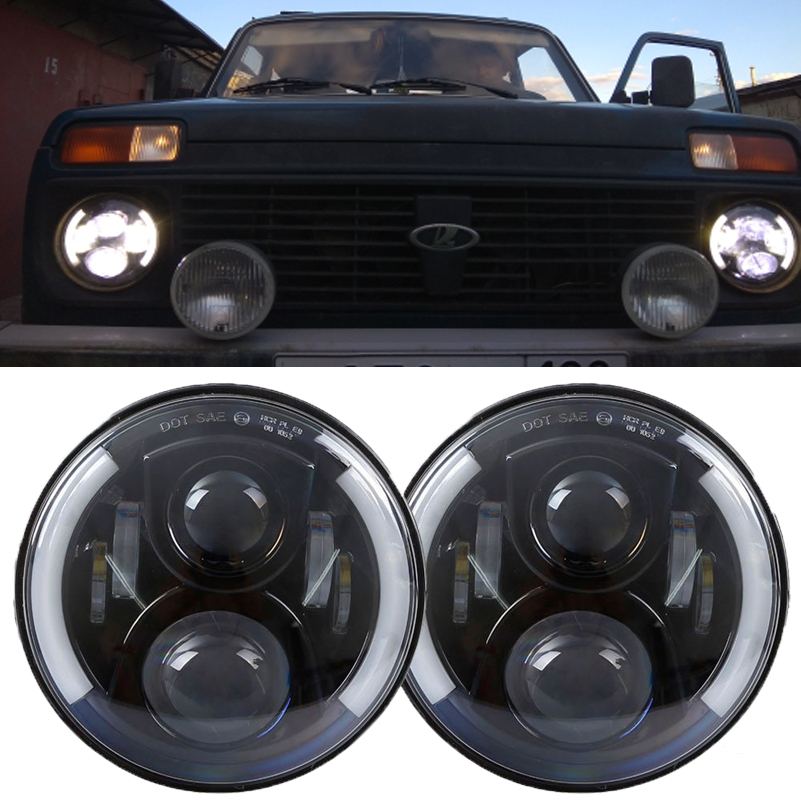 Jeep Halo Headlights >> Us 34 49 28 Off 2pcs 7 Led Drl Headlight 4x4 7inch Round Halo Headlights For Jeep Jk Vaz 2121 Lada Niva 7