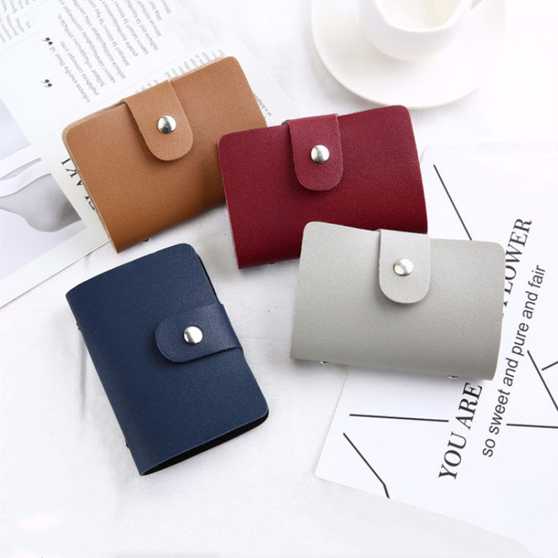 Fashion Card Holder PU Leather Card Bag Women Men Bank Credit Card Case Portable Bus ID Card Pouch Pocket