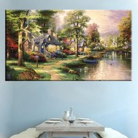 Country House Wall Art Room Decoration Famous Thomas Kinkade Reproduction Pastoral Cottage Lakeside Landscape Art Prints Canvas