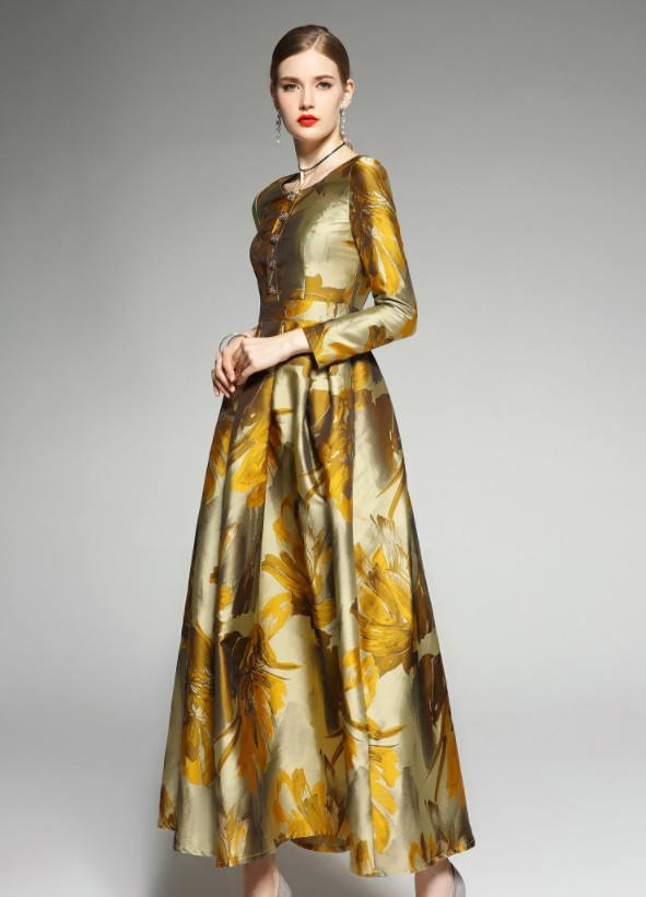 2019 Robe Unique Manches Kelly Maxi Rétro Femmes Mince Jacquard Rangée Longues D'or Nouveau Or Fleur Robes À Femelle De Sac qGVpUzMS