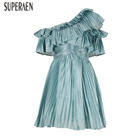 SuperAen Europe Fashion 2019 Spring and Summer New Women Dress Solid Color Irregular Ladies Dress Off Shoulder Women Clothing