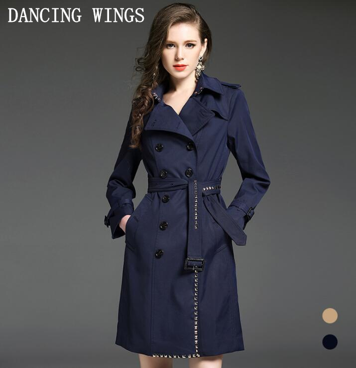 Ladies Coats Women 2019 Autumn Fashion Khaki/Blue Long Double-Breasted Rivet Trench Coat