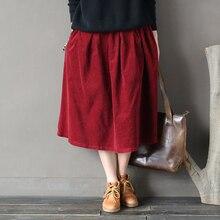 Johnature 2020 nova primavera feminina algodão veludo saia cintura elástica do vintage outono inverno grosso saias quentes