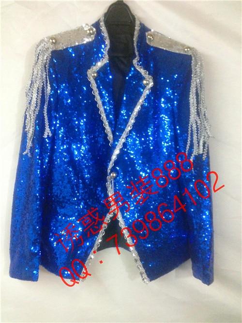 Hot 2018 new fashion Navy blue paillette formal dress costume men Sequined suit ktv stage Nightclub clothes Host Blazer jackets