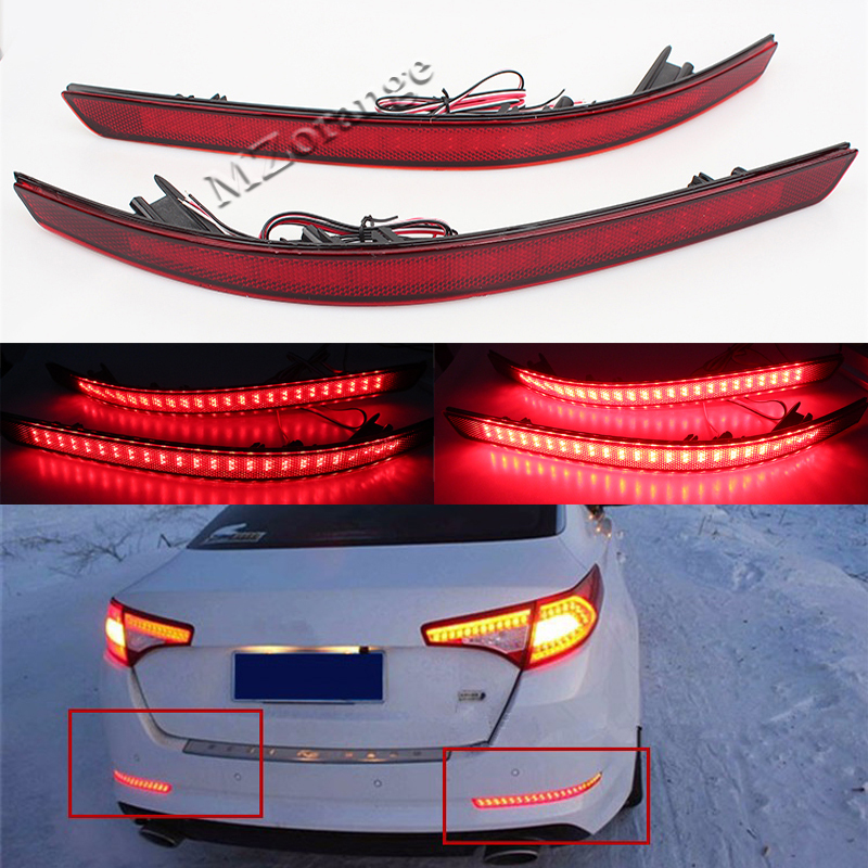 MZORANGE 1 Pair Left And Right Car Red Bar LED Rear Bumper Reflector Lamp Brake Turn Signal Light For KIA Optima K5 2014 2015 rear bumper light fog lamp for mazda cx 5 left and right top quality