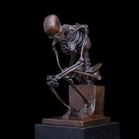 Художественных промыслов Медь Классическая Мыслитель Скелет латунь фигурка Современные Аннотация коллекция домашнего декора