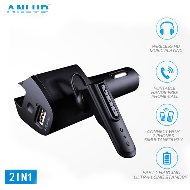ANLUD Bluetooth Headset Car Charger Handfree Quick Car Charger Adapter for Samsung S8 iPhone7 Wireless Earphone