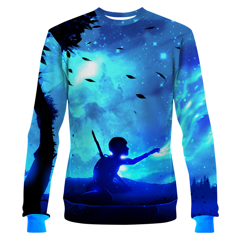 Cloudstyle Boy and Mysterious Universe Sweatshirt New Design Fashion Style Pullover Long Sleeve Sportwear Plus Size Sweatshirt
